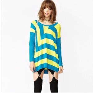 Nasty Gal Out of Line Blue Yellow Sweater